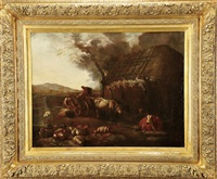 paisagem com figurais e gado junto a casario by dirk van bergen