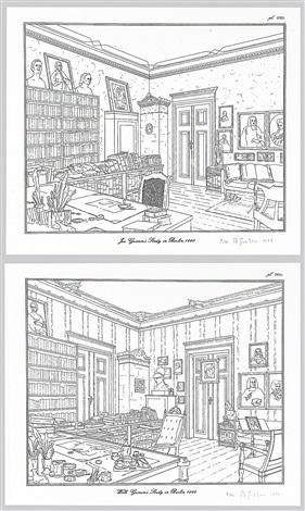 rodney graham drawings - brüder grimm museum kassel and jacob grimm's studio in berlin - wilhelm grimm's studio in berlin (6 works) by rodney graham