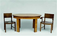 tisch mit 4 stühlen und 2 armlehnstühlen (from speisezimmer typ 207; 7 works) by karl bertsch