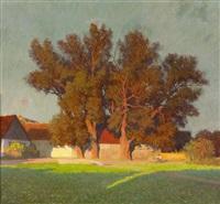 bauernhof mit bäumen by anton hans karlinsky