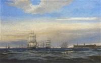 congested shipping lanes off kronborg castle, denmark by edvard skari