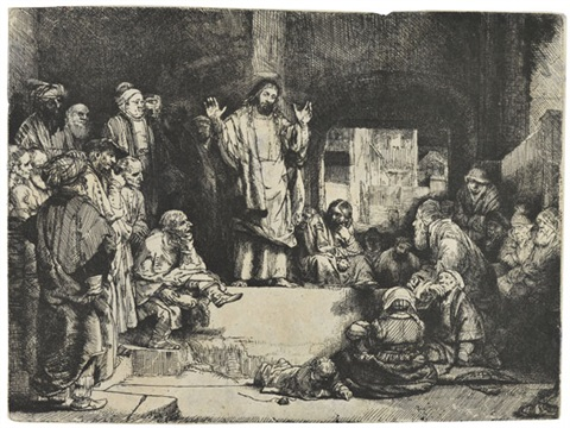christus predigend genannt la petite tombe by rembrandt van rijn