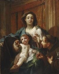 madonna mit kind, dem heiligen antonius von padua und dem heiligen abt antonius by giovanni battista crosato