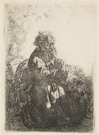 der heilige hieronymus im gebet niederblickend by rembrandt van rijn