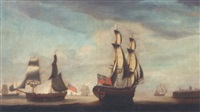 a merchantman and a trading brig off tynemouth by john askew