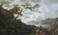 weite felsige küstenlandschaft mit ausruhenden soldaten bei bewölktem himmel by jacob de heusch