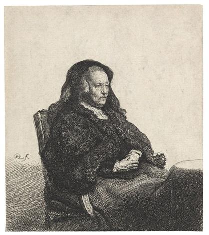 rembrandts mutter mit schwarzem schleier by rembrandt van rijn
