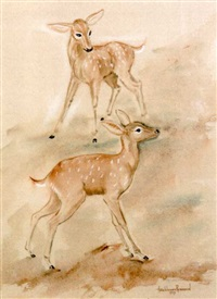 two fawns in a landscape by anne worsham richardson