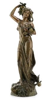 eine junge frau in langem kleid, kastanien in den händen haltend by hippolyte françois moreau