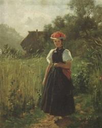 junge gutacherin auf einem feldweg bei einem bauernhof by wilhelm g. hasemann