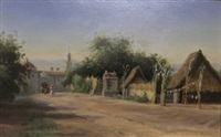 view of a church and village street (mexico?) by townley benson