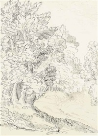 arcadian scene with a classical figure beside a wooded path by john white abbott