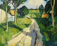 road through a summer landscape by bírge ibsen