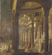 an architectural capriccio with bathsheba receiving the news of the death of her husband uriah the hittite by wilhelm schubert van ehrenberg