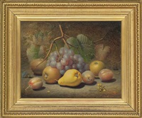 grapes, apples, plums, pear and a thistle on a mossy bank by charles archer