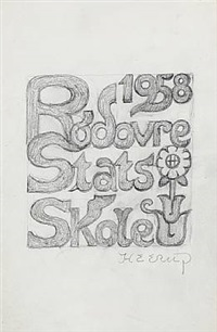 draft for a poster, rødovre state school by henry heerup