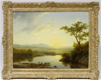 paysages étendus avec bergers et troupeau (pair) by karl lieske