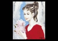 woman in red sweater by misao kono