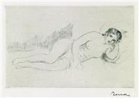femme nue couché (tournée à droite), 1re planche by pierre-auguste renoir