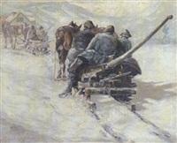 oberbayerische holzfäller mit pferdeschlitten in verschneiter gebirgslandschaft by otto ackermann-pasegg