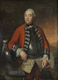 portrait of a military officer wearing a red coat with dark blue and lace froggings above a breast plate, a plumed helm beside him by david morier