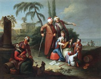 orientalische szene (+ another, similar; 2 works) by karl joseph aigen