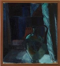 composition (+ another, oil on cardboard, lrgr; 2 works) by age vogel-jorgensen