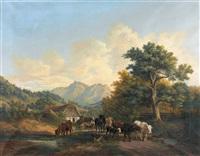 sommerliche landschaft mit kühen und schafen by aloys ab yberg