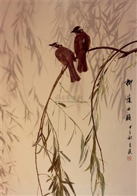 柳荫白头 (willow and the birds) by qian wanli