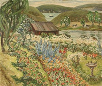 expansive landscape with flower garden by minnie harms neebe