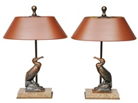 a pair of art déco figures cormorant as table lamps (pair) by maurice frecourt