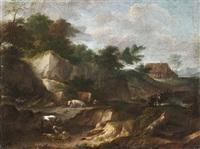 bewaldete felslandschaft mit hirten und herde, im hintergrund ein bauerngehöft by cornelis huysmans