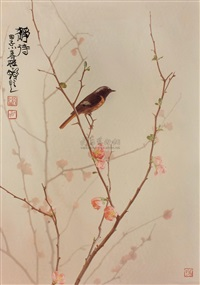 静诗 (bird and flower) by qian wanli