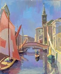 chioggia. pittoreske kanalansicht mit zahlreichen booten in klein venedig by konrad honold