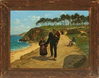 coastal scenery from bretagne, with fisherman and his daughter by paul abram