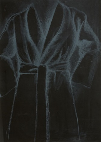 white robe on black paper by jim dine