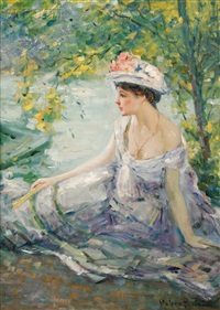 summer reverie/young woman at ease on a riverbank by robert reid