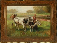 landscape with young woman and cows at a stream by rudolf weber