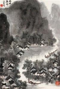 雨后渔邨 (landscape) by li xiaoke