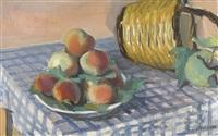 stillleben mit pfirsichen und flechtkorb by maurice barraud