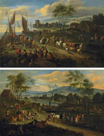 zwei landschaften mit figurenstaffage by theobald michau