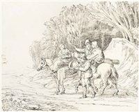 travellers on a path; travellers with children, donkeys and their dog; figures and a dog on a bridge in an italianate landscape (3 works) by john white abbott