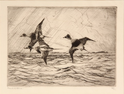 ducks in flight over the ocean by frank weston benson