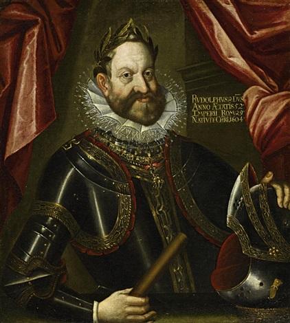 porträt des kaisers rudolph ii in rüstung und mit lorbeerkranz by hans von aachen