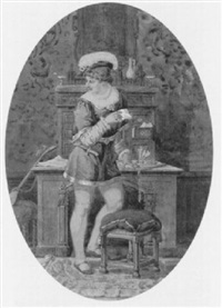 jüngling in altümlicher tracht an einem schreibpult by johann-salomon hegi