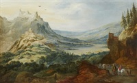 landskap med resande sällskap by joos de momper the younger and jan brueghel the elder