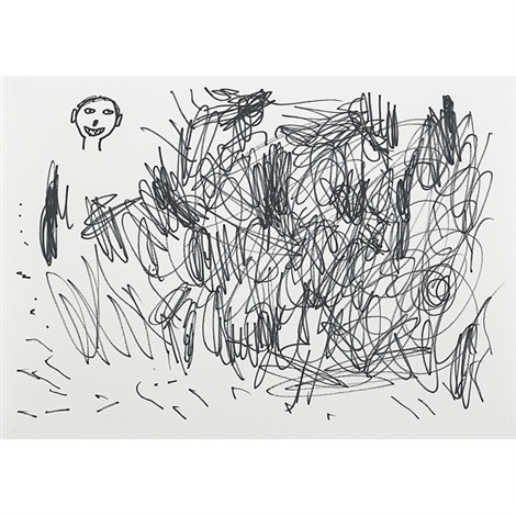 untitled scribble and head by david shrigley