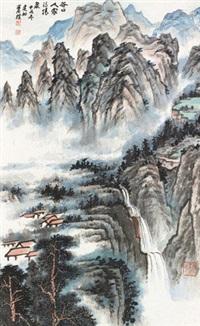 山水 立轴 设色纸本 by xiao jianchu