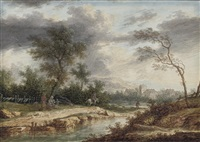 a river landscape with travellers by a campfire by henri-joseph van blarenberghe