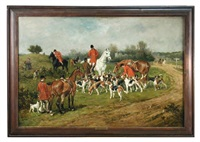 the new forest buckhounds meet at lyndhurst bench by john emms